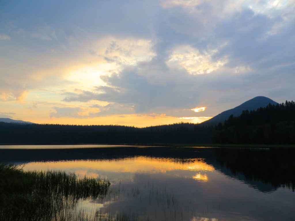 Sunset on the water in Bowron Provincial Park, BC.