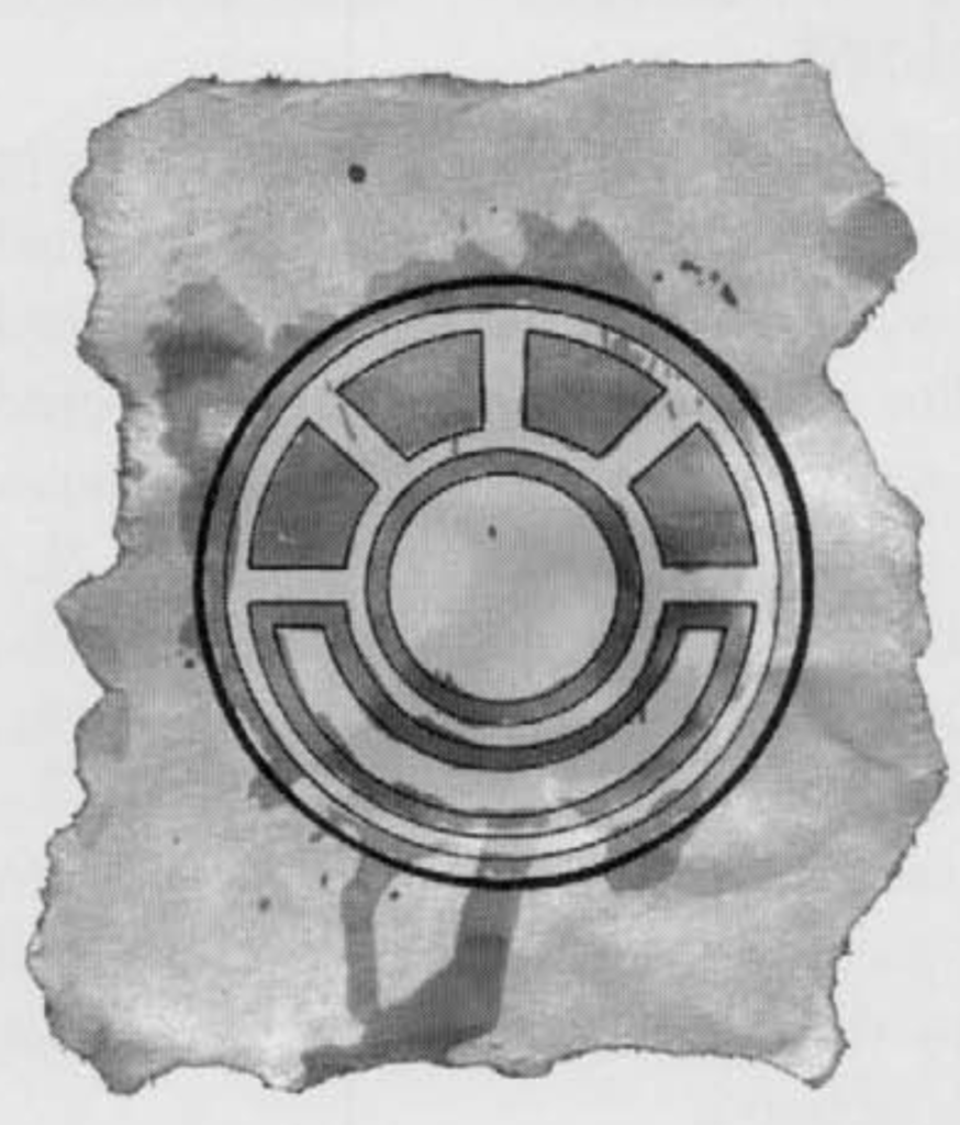 An early symbol of the morning lord. A round sunlike symbol drawn on a stained and torn parchment resembling a styalized sun over a road.